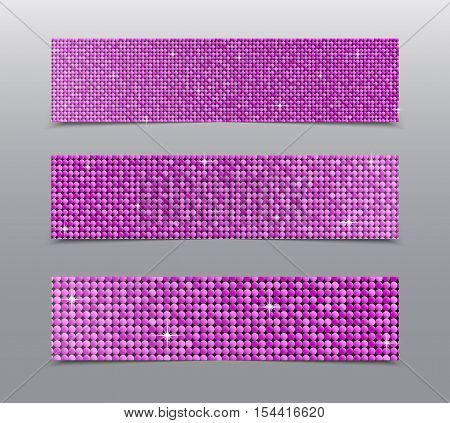 Horizontal set of Pink sequins banners template for business design, infographics. Vector illustration eps10. Mosaic sequins glitter sparkle, stars.