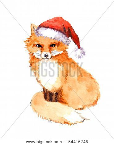Christmas fox in red santa hat. Christmas watercolor