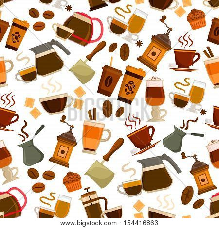 Coffee drinks pattern. Vector seamless pattern of steamy coffee cappucino cup, retro coffee latte maker, vintage coffee mill, turkish cezve, hot milk macchiato, coffee beans, chocolate dessert cake. Cafeteria, cafe decoration background
