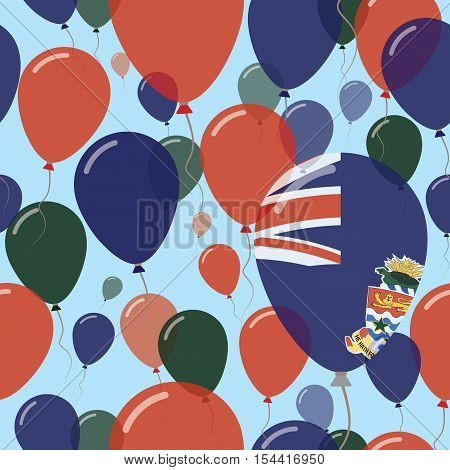 Cayman Islands National Day Flat Seamless Pattern. Flying Celebration Balloons In Colors Of Caymania