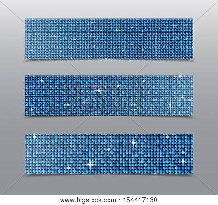 Horizontal set of Blue sequins banners template for business design, infographics. Vector illustration eps10. Mosaic sequins glitter sparkle, stars.