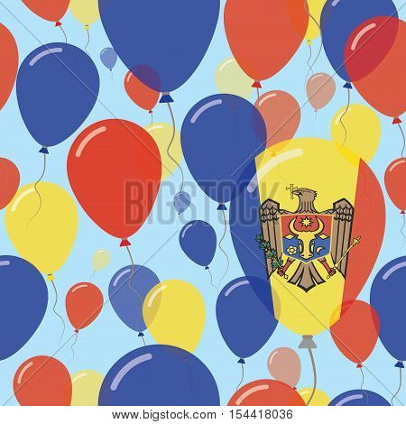 Moldova, Republic Of National Day Flat Seamless Pattern. Flying Celebration Balloons In Colors Of Mo