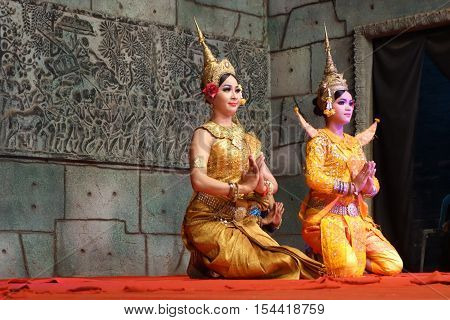 Apsara Dancers Kneel In The Performance, Siem Reap, Cambodia