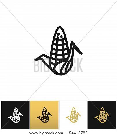 Corn cob nutritious maize vector icon. Corn cob nutritious maize pictograph on black, white and gold backgrounds