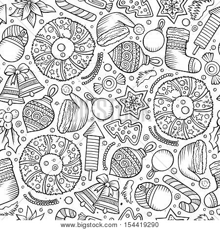 Cartoon cute hand drawn Xmass seamless pattern. Line art with lots of objects background. Endless funny vector illustration