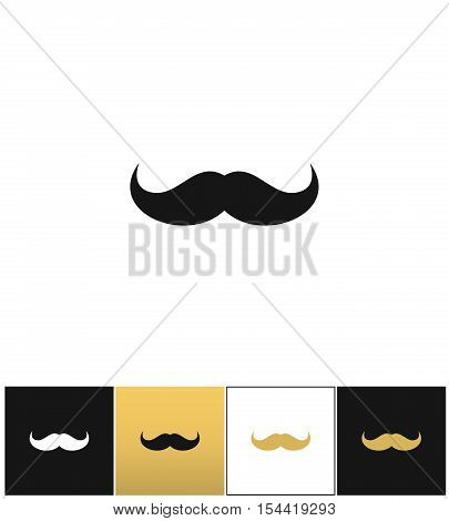 Curly mustache 70s retro man vector icon. Curly mustache 70s retro man pictograph on black, white and gold backgrounds