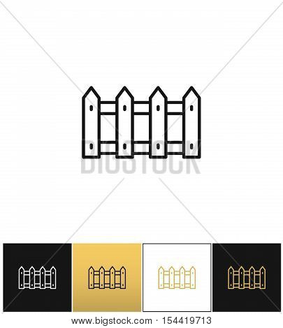 Fence or wood picket line vector icon. Fence or wood picket line pictograph on black, white and gold backgrounds