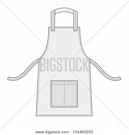 White apron with outsets and pocket isolated on white