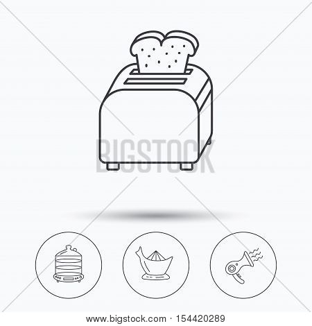 Steamer, hairdryer and toaster icons. Juicer linear signs. Linear icons in circle buttons. Flat web symbols. Vector