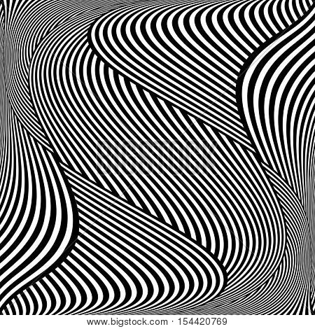 Op art wavy lines pattern. Vector illustration.
