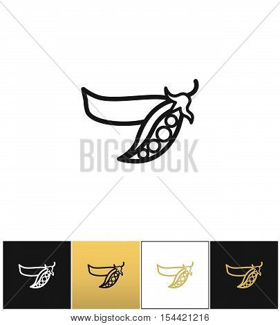Peas linear sign or fresh legumes pea vector icon. Peas linear sign or fresh legumes pea pictograph on black, white and gold backgrounds