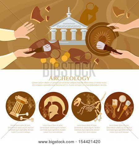 Archaeological excavation infographics achaeologists unearth ancient artifacts ancient history vector illustration