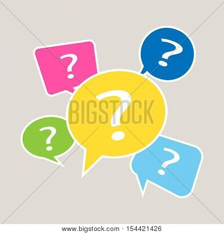 question mark icon. Five speech bubbles. Vector