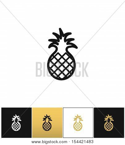 Pineapple sweet exotic dessert vector icon. Pineapple sweet exotic dessert pictograph on black, white and gold backgrounds