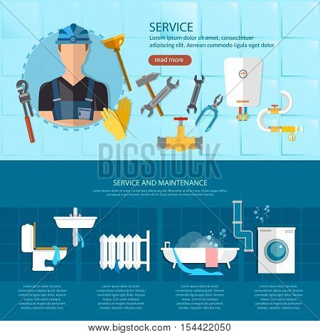 Plumbing repair serviceprofessional plumber different tools and accessories vector illustration