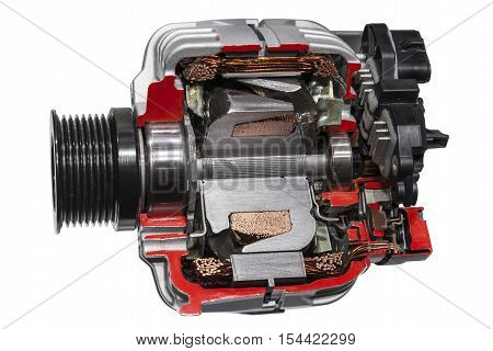 Automotive alternator cross section isolated on white background