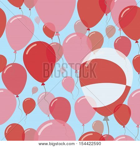 Greenland National Day Flat Seamless Pattern. Flying Celebration Balloons In Colors Of Greenlandic F