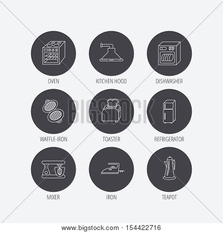 Dishwasher, refrigerator fridge and blender icons. Kitchen hood, mixer and toaster linear signs. Oven, teapot and waffle-iron icons. Linear icons in circle buttons. Flat web symbols. Vector