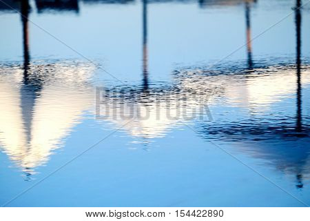 the reflection of sun umbrellas in swimming pool water