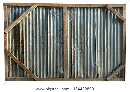 Old galvanized sheet on wood bars, background texture