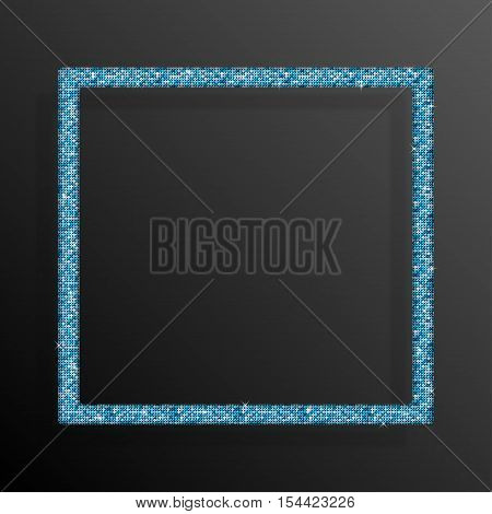 Frame made of Blue sequins in the form square. Mosaic sequins glitter sparkle stars.