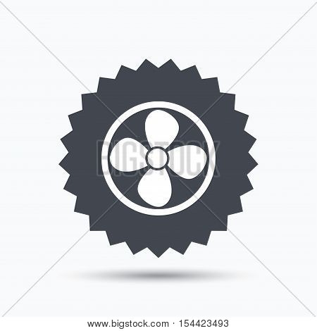 Ventilation icon. Air ventilator or fan symbol. Gray star button with flat web icon. Vector