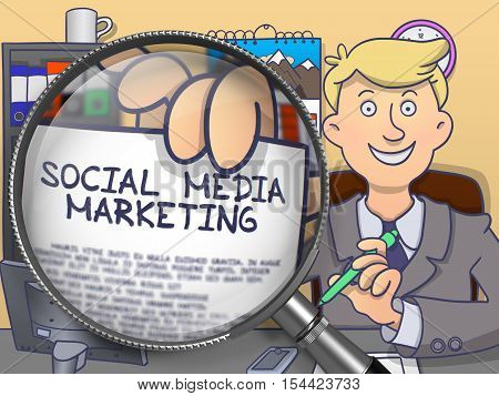Social Media Marketing on Paper in Officeman's Hand to Illustrate a Business Concept. Closeup View through Lens. Multicolor Doodle Style Illustration.