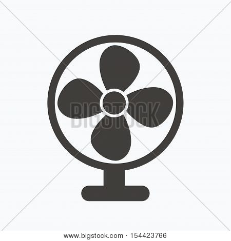 Ventilator icon. Air ventilation or fan symbol. Gray flat web icon on white background. Vector
