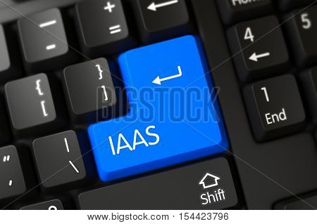 IaaS Concept: Computer Keyboard with Blue Enter Keypad Background, Selected Focus. 3D Illustration.