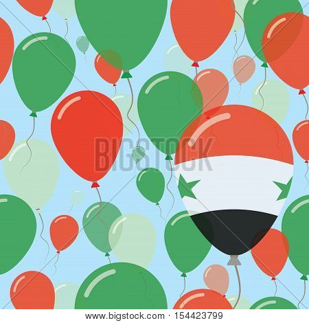 Syrian Arab Republic National Day Flat Seamless Pattern. Flying Celebration Balloons In Colors Of Sy