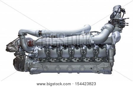Modern heavy duty truck and bus diesel engine isolated on white background