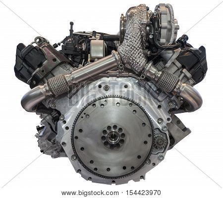 Modern v6 six cylinder diesel engine isolated on white background