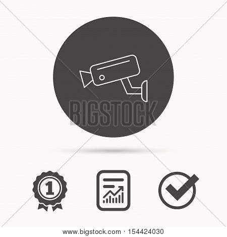 Video monitoring icon. Camera cctv sign. Report document, winner award and tick. Round circle button with icon. Vector