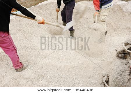 Working place, collecting sand for concrete