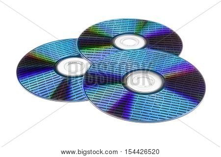 three optical disc with a diffraction effect on the surface and data in the form of numbers