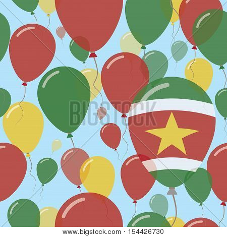 Suriname National Day Flat Seamless Pattern. Flying Celebration Balloons In Colors Of Surinamer Flag