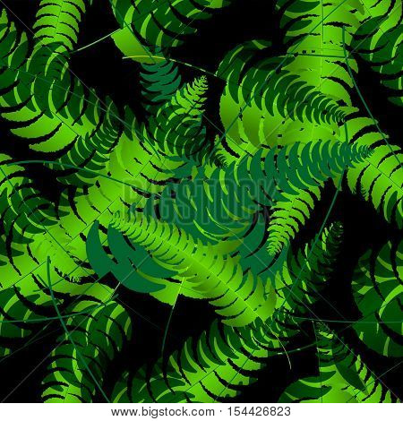 Fern frond silhouettes seamless pattern. Vector summer illustration.