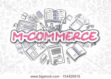 Business Illustration of M-Commerce. Doodle Magenta Word Hand Drawn Cartoon Design Elements. M-Commerce Concept.