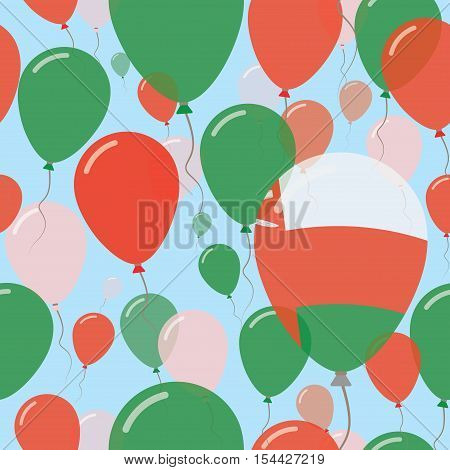 Oman National Day Flat Seamless Pattern. Flying Celebration Balloons In Colors Of Omani Flag. Happy