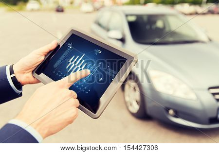 vehicle, technology, diagnostics and people concept - close up of male hands with diagram on tablet pc computer screen and car outdoors
