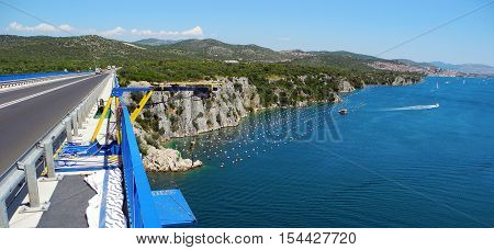 Bungee jumping from the bridge of Krk.