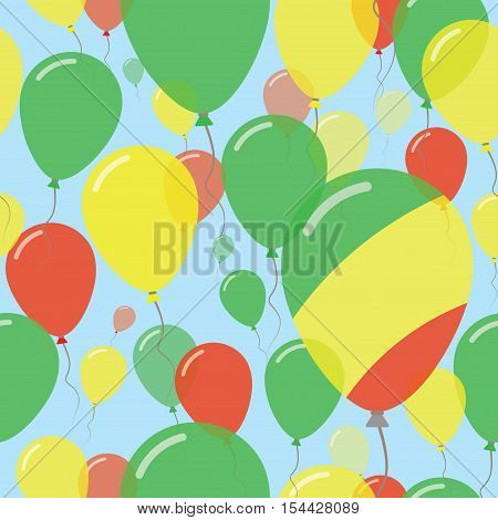 Congo National Day Flat Seamless Pattern. Flying Celebration Balloons In Colors Of Congolese Flag. H