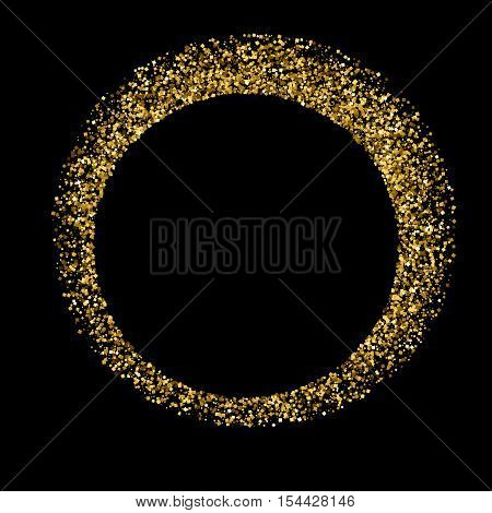 Gold glitter texture isolated on black. Golden color of winners. Gilded abstract particles. Explosion of confetti shine. Celebratory background. Vector illustrationeps 10.