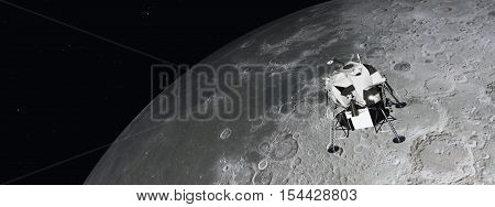 Computer generated 3D illustration with the Lunar Module near the moon