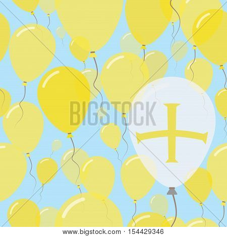 Guernsey National Day Flat Seamless Pattern. Flying Celebration Balloons In Colors Of Channel Island