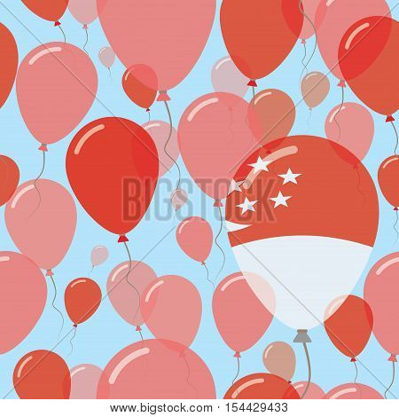 Singapore National Day Flat Seamless Pattern. Flying Celebration Balloons In Colors Of Singaporean F