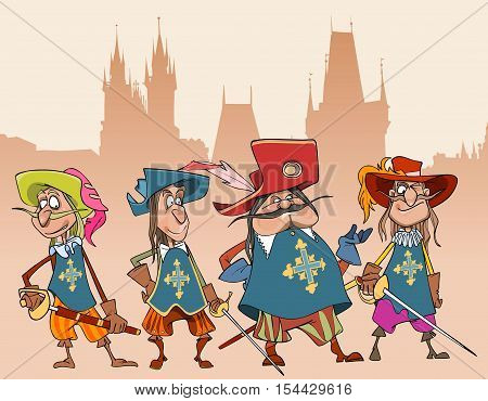 four cartoon funny characters soldiers Musketeers Gothic building in the background