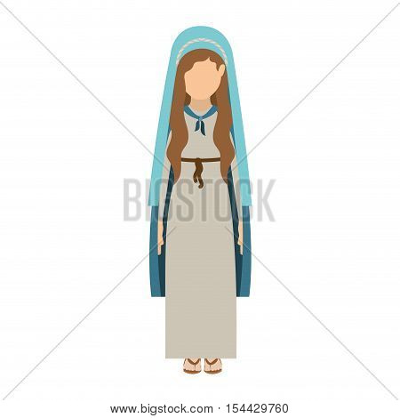 cartoon virgin mary woman wearing blue mantle over white background. vector illustration