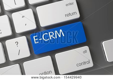 E-CRM Concept Modern Keyboard with E-CRM on Blue Enter Keypad Background, Selected Focus. 3D Render.