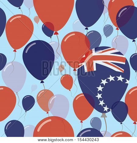 Cook Islands National Day Flat Seamless Pattern. Flying Celebration Balloons In Colors Of Cook Islan